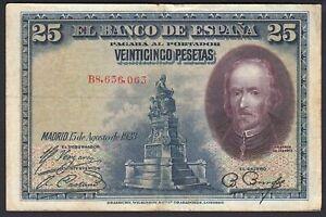 1928 25 Pesetas Spain Vintage Rare Paper Money Spanish Banknote Currency VF