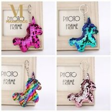 4 Designs Dazzling Sequin Glitter Mythical UNICORN Kids Keyring Keychain -  UK