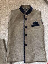 Mens Boys Asian Pakistani Junaid Jamshed Waistcoat Jacket Gold Wedding