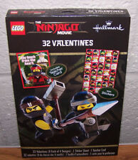 Valentines Day Cards (Box of 32) Lego The Ninjago Movie with Stickers