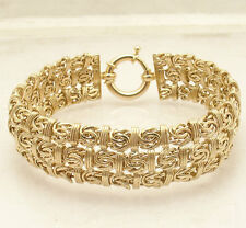 "7.25"" Triple Row Byzantine Status Link Bracelet Real 14K Yellow Gold QVC"