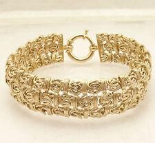 "7.25"" Triple Row Byzantine Status Link Bracelet Real 14K Yellow Gold QVC"