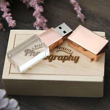 Unidad flash USB 2.0 de Cristal 16GB Fotografía De Boda Personalizado Caja De Madera Pendrive