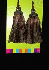 2 Brown/ Natural Color Key Tassels w/ Silver Tops - Decorate furniture, Curtains