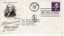 FDC - Horace Greeley - Chappaqua - Feb 3rd - 1961 - Premier jour