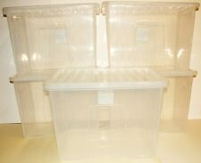 5 x Very large clear plastic storage boxes 80 litre/ 60cm, with lids,new.