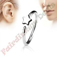 316L Surgical Steel Silver Ion Plated Nose & Ear Cartilage Ring with Star
