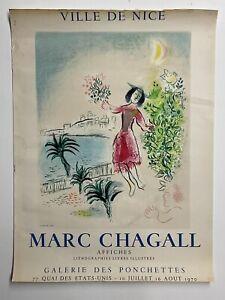 Original Marc Chagall Ville De Nice Affiches Vintage 1970 Gallery Poster Mourlot