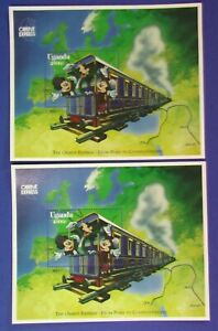 2x Uganda Block Walt Disney 1996 Mickey´s Orient Express Mickey Mouse postfrisch