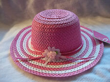 DK PINK EASTER HAT GIRL BONNET CHURCH FLOWER STRIPE SPRING MAGENTA PHOTOS NWT