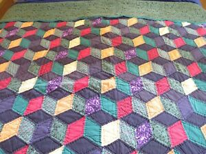 "Vintage Queen Handmade Patchwork Tumbling Block Quilt w Green Border 82 x 82"""