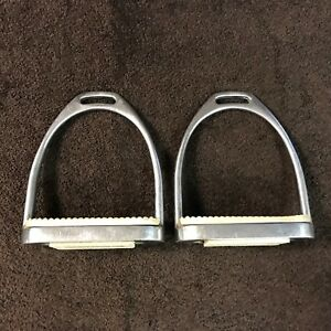 "Metal PARTRADE MetalAB English Riding Stirrups w/4 1/4"" White Rubber Inserts"
