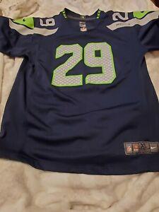Nike Seattle Seahawks Jersey Shirt NFL Thomas III #29 Blue Women's Size XL 18/20