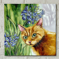 Ginger Cat Agapanthus J Yates 8x8 Decorative Ceramic Tile Wall Plaque Gift 05870