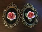 Vtg Capodimonte Brass and Porcelain Plaque Red Pink White Rose Velvet Hang Italy
