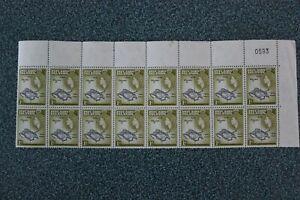 Pitcairn Islands - 1957-63 MNH BLOCK x 16 1d Black & Olive-Green sg19 MARGIN