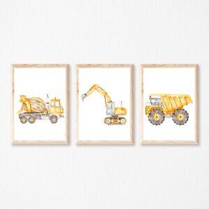 Set of 3 Construction Dump Trucks, Kids Boy Wall Art Nursery Kids Poster Prints