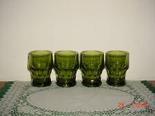 "4-PIECE ANCHOR HOCKING ""GREEN"" GLASS 4 1/4"" TUMBLERS/VINTAGE GLASS/FREE SHIP!"