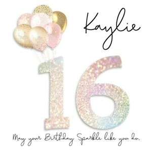 PERSONALISED SWEET SIXTEEN 16TH BIRTHDAY CARD-SPARKLE&BALLOONS- ADD NAME-ANY AGE