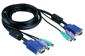D-LINK DKVM-CB KVM Switch Cable 1.8M 6FT VGA Video Monitor PS2 Keyboard Mouse