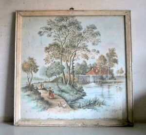 Antique Old Scene Of Indian Village Landscape Beautiful Print With Frame