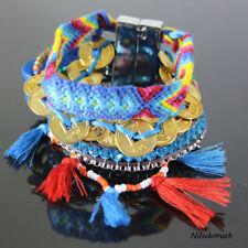 Damen Freundschaftsarmband Perlen Glücksbringer mit Magnetverschluss blau
