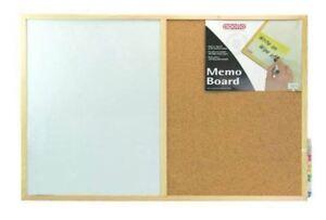 Apollo Memo Message Dry Wipe White Board 40 x 60cm Magnetic Whiteboard Cork Pin