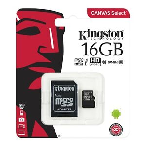 Kingston MicroSDHC 16GB Memory Card TF Mobile Phone Class 10 80MB/s with ADAPTER
