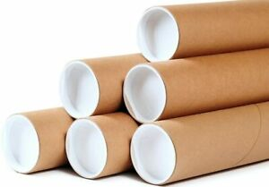 "50 - 2"" x 36"" Round Cardboard Shipping Mailing Tube Tubes With End Caps"