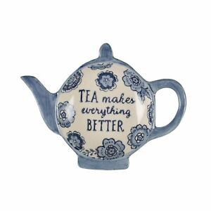 Blue Floral Tea Bag Dish, Quirky Teapot Shaped Ceramic Dish by Sass & Belle