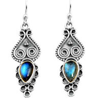 black friday sale 2.44cts natural blue labradorite silver dangle earrings p91357