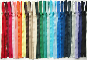 Single YKK Branded Closed End Nylon Zip in Many Sizes and Colours