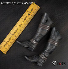 """Newest 1/6 Scale Black Leather Man Boots Shoes Fit 12"""" Male Action Figure Body"""