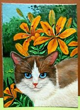 Original Aceo Ryta Ragdoll Cat Painting Garden Art Lily Flowers Spring Easter Hp