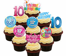 10th Birthday Boy & Girl Edible Cup Cake Toppers Standup Decorations 36 pack 10