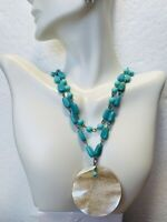 1900's Double Strand Turquoise Bead Mother Of Pearl Roundell Pendant Necklace