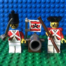 Vintage Lego Pirates Red Coat Imperial Soldier Minifigures with Cannon Flag
