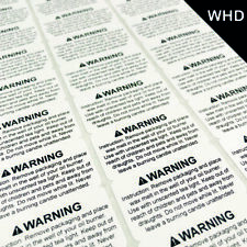 Wax Melt Safety Warning Labels Stickers Warning Instructions Black