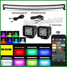 "52"" CREE LED Curved Light Bar RGB Strobe Music Flash + 2x 3"" Halo Pods Bluetooth"