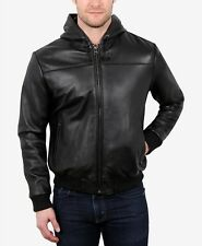 $1250 WILLIAM RAST Men SLIM FIT BLACK LEATHER FULL ZIP BIKER HOODIE JACKET L