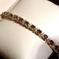 "GB Purple 4mm amethysts & diamantes 7.2""  tennis bracelet, gold GF BOXED Plum UK"
