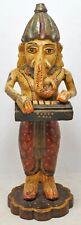 Antik Holz Gott Ganesha Musiker Idol Figur Original Alt Handgeschnitzt Malen