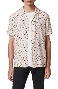ALLSAINTS Amore Heart Print Short Sleeve Button-Up Camp Shirt - Off White/Pink M