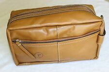 Pottery Barn Beckett Cognac Leather Travel Toiletry Case Bag NWT Free Shipping P
