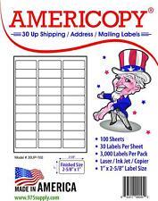 Americopy 30up Address Labels 1 X 2 58 30 Labelssheet 3000 Labelspack