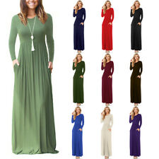 Ladies Evening Party Long Maxi Dress With Pockets Stretch Long Sleeve Boho Dress