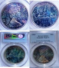 RAINBOW TONED 1965 Canada Silver Dollar PCGS MS64   GREAT COLOURS