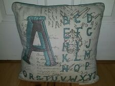 Edie Inc. Alphabet square throw Pillow light blue gray A-Z