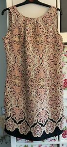 Dorothy Perkins Sleeveless Black/orange Geometric Print Viscose Dress Size 14