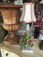 Adorable Vintage Italian Tole Table Lamp Pink Roses Pink Trimed Lamp Shade #D